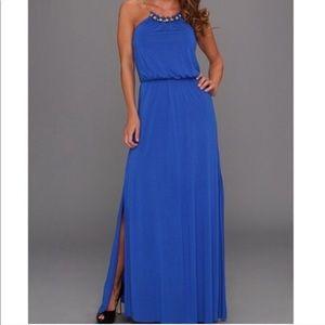 Lily Pulitzer Inna Blue Gold Chain Maxi Dress